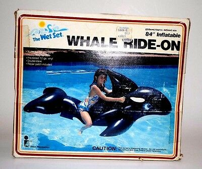 """Vintage 1985 Whale Ride-on 84"""" inflatable blow up by Wet Set Intex"""