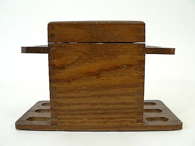 VTG Wooden Smoking 6 Pipe Stand Rack Holder w Tobacco Storage Space Table Top