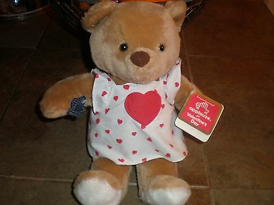 "Vintage 1984 Applause Valentine Bear 12"" in white dress with hearts New w Tags"