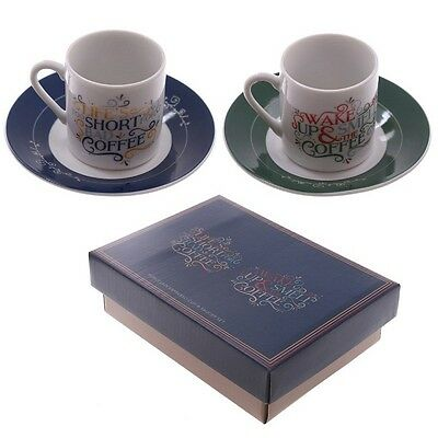CBG620 Set of 2 Espresso Cup and Saucer - Slogans 5055071713620