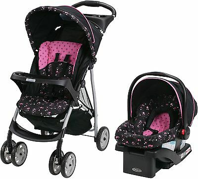 Stroller Car Seat Travel System Combo Girls Pink Baby Cradle Toddler Carriage