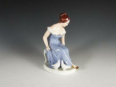 Royal Dux Porcelain Figurine Seated Young Woman With a Pair of Doves -FREE SHIP-