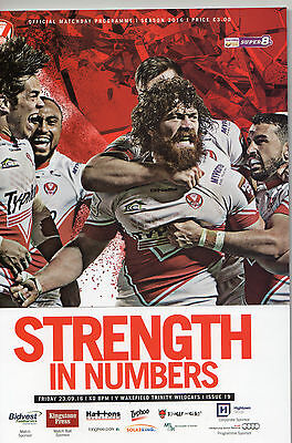 ST.HELENS V WAKEFIELD TRINITY WILDCATS SUPER 8s RUGBY LEAGUE PROGRAMME 23-9-16