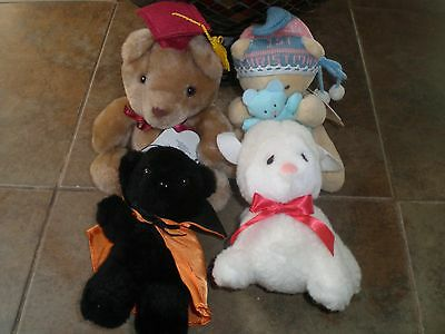 LOT OF 4 Vintage Applause Stuffed Plush animals Halloween, bears lamb New NOS