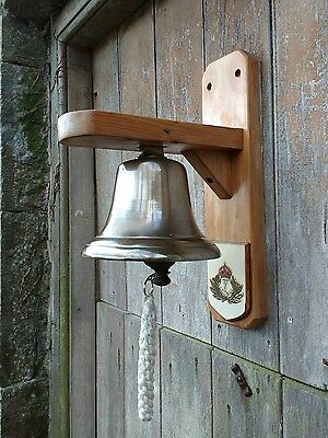 Vintage Mounted Nautical Bell with Royal Navy Crest - Kings Crown (pre 1952)