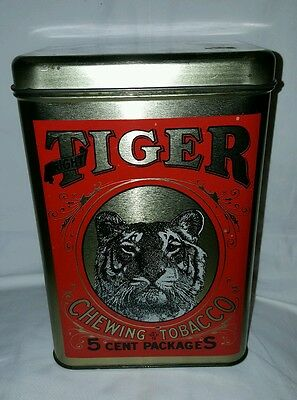 """Vintage Large Tin of Bright TIGER Chewing Tobacco 9"""" H Cheinco"""