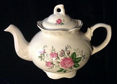 Lovely Classic Rose Staffordshire Teapot, Wood & Sons, Vintage, Numbered,