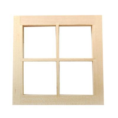 Georgian Wooden 4 Pane Window w/ Frame Dolls House Miniature Accessory 1:12