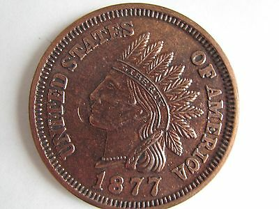 "Vintage Novelty 1877 Indian Penny 3"" Metal Coaster"