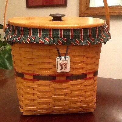 Longaberger1998 Largest Glad Tidings Basket With Lid, Liners And Ceramic Tie-On