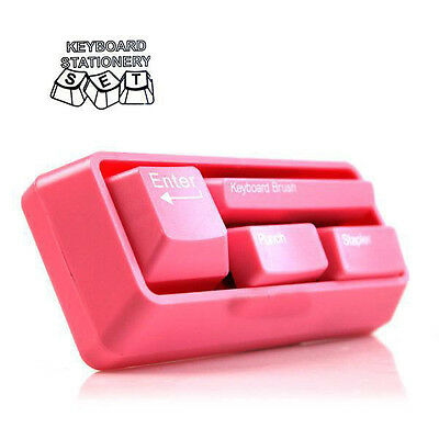 Stapler + Punch + Keyboard Brush + Pin container al in 1