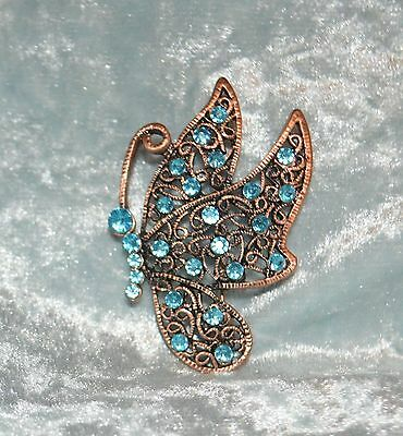 Blue Crystal Butterfly Copper Tone Metal Pin Brooch Tie Back