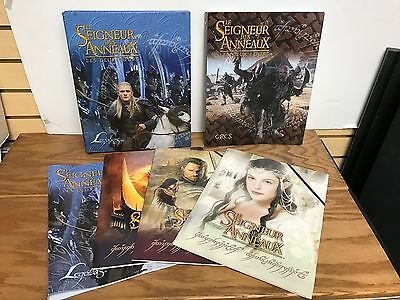 6 different LORD of the RINGS Collectible School Folders + Trading Card Albums