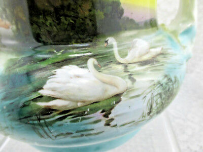 Vintage Royal Bayreuth 2 Handle Vase~Swans~Blue Mark