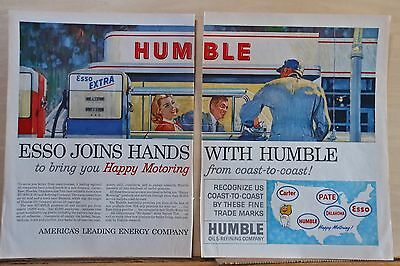 1960 two page magazine ad for Esso Humble - Esso Joins Hands with Humble