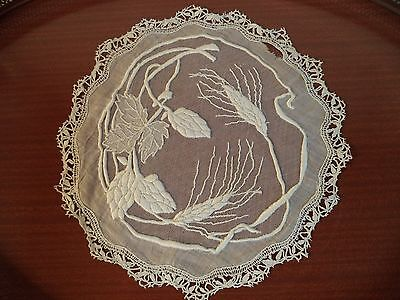 "Antique Embroidered Net Lace Center Doily-Wheats and Leaves 10""-Amazing handwork"