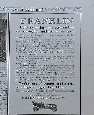 1908 magazine ad for Franklin Autos - lightweight, sure of comfort & safety