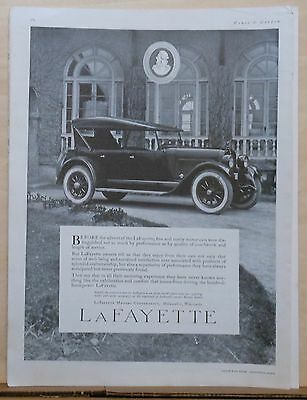 1923 magazine ad for LaFayette Motor Cars - 100 H.P., Exhilaration and comfort