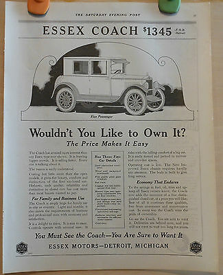 Vintage 1922 ad for Essex - 5 Passenger Coach graphic, Wouldn't You Like It?