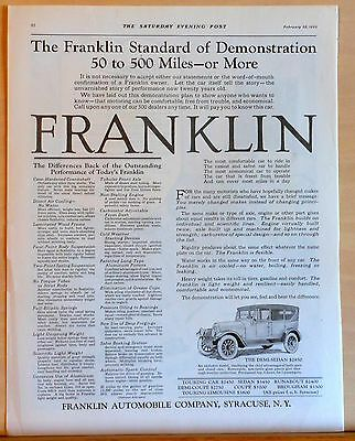 Vintage 1922 magazine ad for Franklin - Differences in Performance of Franklin
