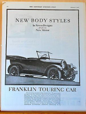 1923 magazine ad for Franklin - Touring Car illustration, new six cylinder