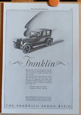 Vintage 1923 magazine ad for Franklin - new Franklin Sedan with new six motor