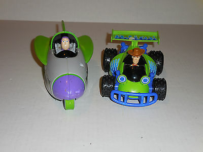 Lot of 2 Shake-n-Go Cars Toy Story 3 Woody on RC and Buzz Lightyear in Spaceship