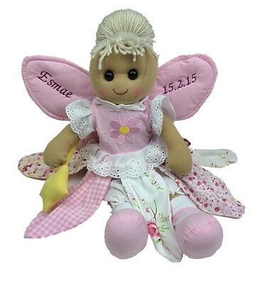 Personalised Handmade Rag Doll With 'Fairy' Design 40cm. Great Gift