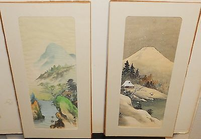 Pair Of Japanese Original Watercolor On Silk Landscpae Painting Signed