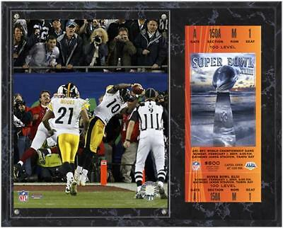 Pittsburgh Steelers Super Bowl XLIII Santonio Holmes Plaque with Replica Ticket