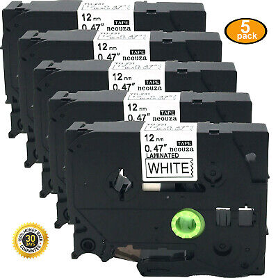 5pcs Black on White Label Tape Compatible for Brother TZ TZe 231 P-Touch Tze231