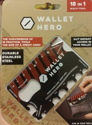 Wallet Hero 18 In 1 Multi Tool Credit Card Pocket Screwdriver Gadget Gift Diy