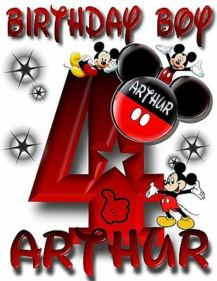 NEW Personalized Custom Mickey Mouse birthday t shirt party favor gift