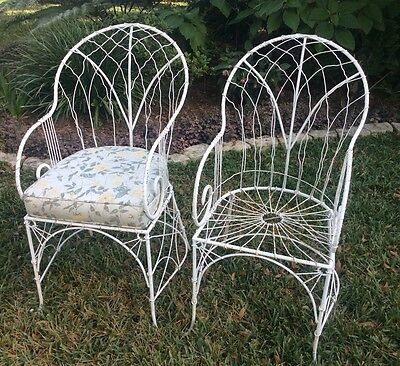 Pair Antique Vtg French Wire Iron Victorian Shabby Cottage Garden Arm Chairs