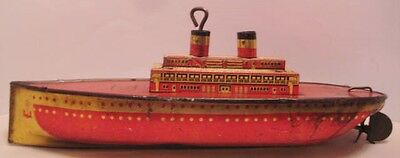 "Antique Tin Litho Wind Up Toy Boat 11"" Lindstrom Ship Unusual Ocean Liner 1930s"