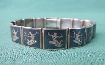 "Vintage Alex & Co Sterling Silver Siam Niello 6"" Panel Bracelet Jewelry"