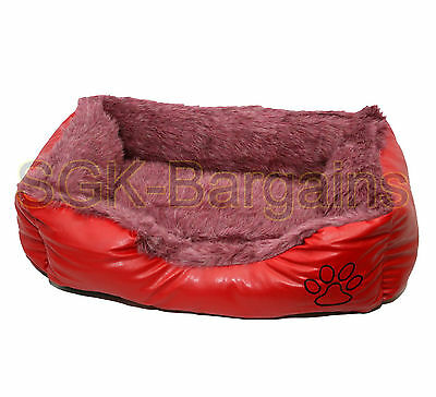 Red SMALL Rex Leather & Fur Puppy Pet Dog Cat Nesting Bed Mat Basket Washable