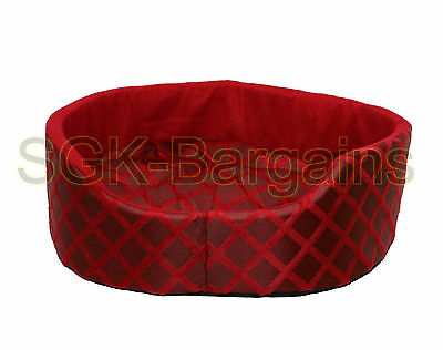 Red SMALL Round Fabric & Foam Puppy Pet Dog Cat Nesting Bed Mat Basket Washable