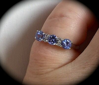 Tanzanite Premium Quality Silver Ring Size M 'Certified Aa' Beautiful Design!