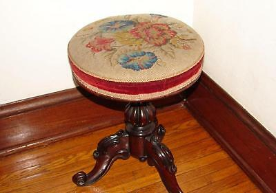 Antique Victorian Piano Stool w/ Needle Point Seat Adjustable height & revolves