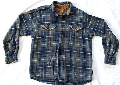 Faded Glory heavyweight Flannel overshirt Blue Plaid Mens size Medium