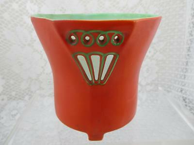 Vintage Royal Bayreuth~ Devil or Tomato Red Art Deco Style Vase/ Holder~Bavaria