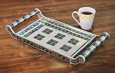 Decorative Drink Serving Tray with Handle Wooden Platter with Colorful Enamel...