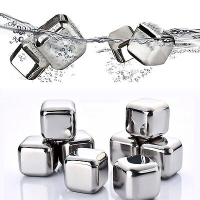 Mayshion 8 Pcs Stainless Steel Whisky Stones Cube Chilling Reusable Glacier W...
