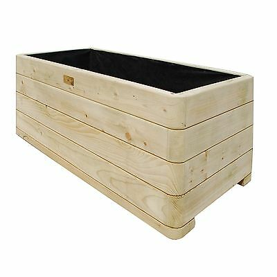 Bosmere PLLY100 Rowlinson Marberry Rectangular Wooden Planter with Liner Natu...