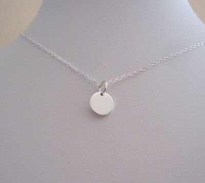 Solid Sterling silver 9mm small disc coin necklace with chain