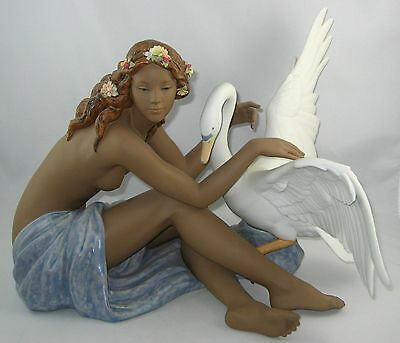 "Lladro Gres Figurine 12444 ""LEDA AND THE SWAN"" In Original Box"