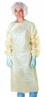 Medline CRI4011 Isolation Gown with Coated Material Neck and Waist Ties Elast...