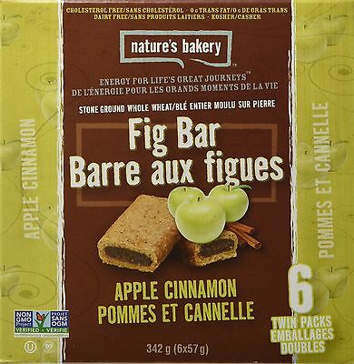 Nature's Bakery Fig Bars (Pack of 6) Whole Wheat Apple Cinnamon 340.2g