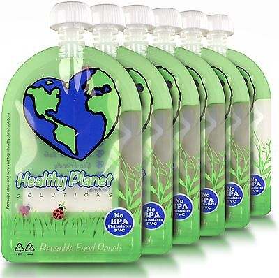 Reusable Food Pouch (6oz - 6 Pack) Baby Food Storage Easy Fill and Clean Leak...
